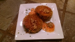 Fat-Free baked corn flake encrusted zucchini with Mae Ploy sweet chili sauce and hot mustard.