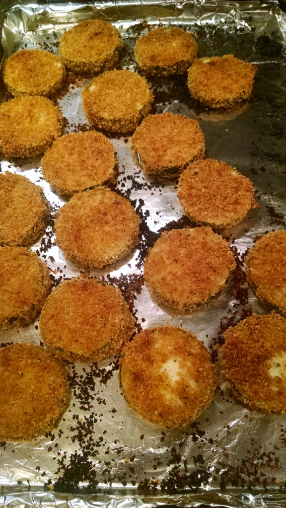 Baked corn flake encrusted zucchini fresh out of the oven!